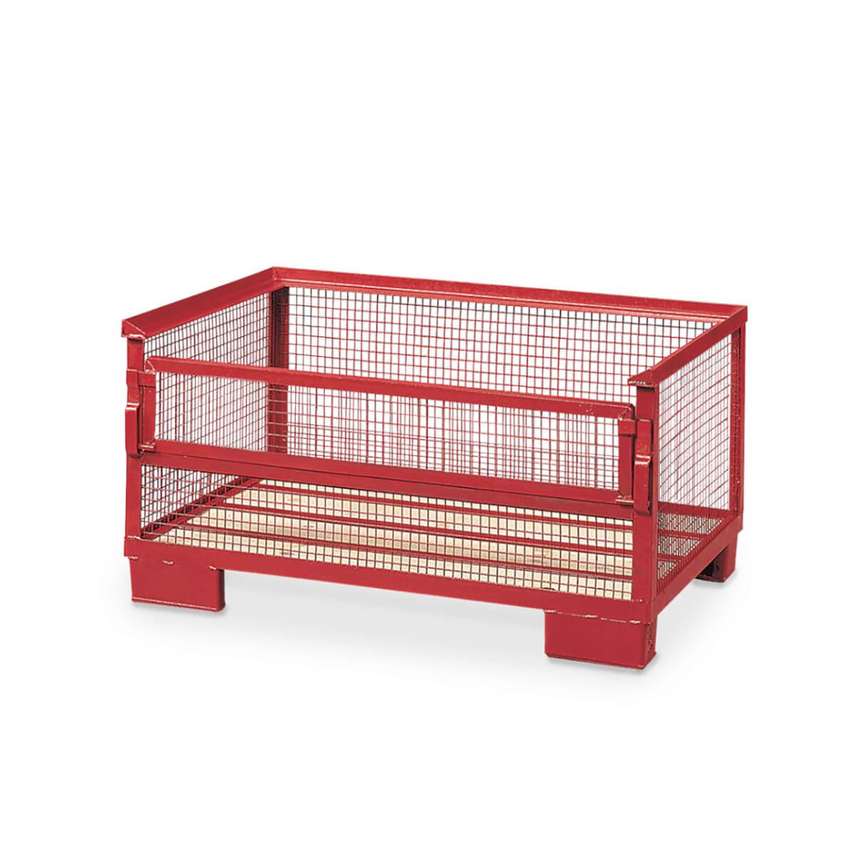 Halbhohe Gitterbox mit einer Klappe und Holzboden in rot